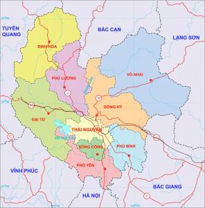 Bản đồ tỉnh Thái Nguyên