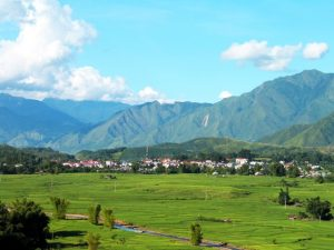 Cánh đồng Than Uyên chạy dài xen lẫn những đồi núi