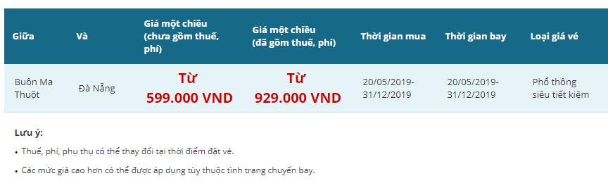 Vietnam Airlines tung vé siêu rẻ Buôn Ma Thuột Đà Nẵng từ 599.000đ
